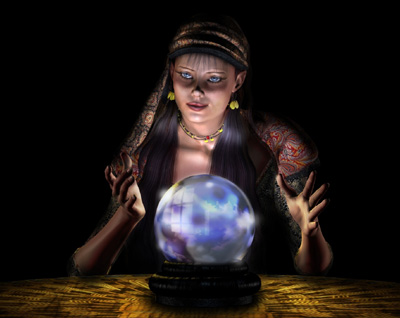clairvoyant looking into orb of the future